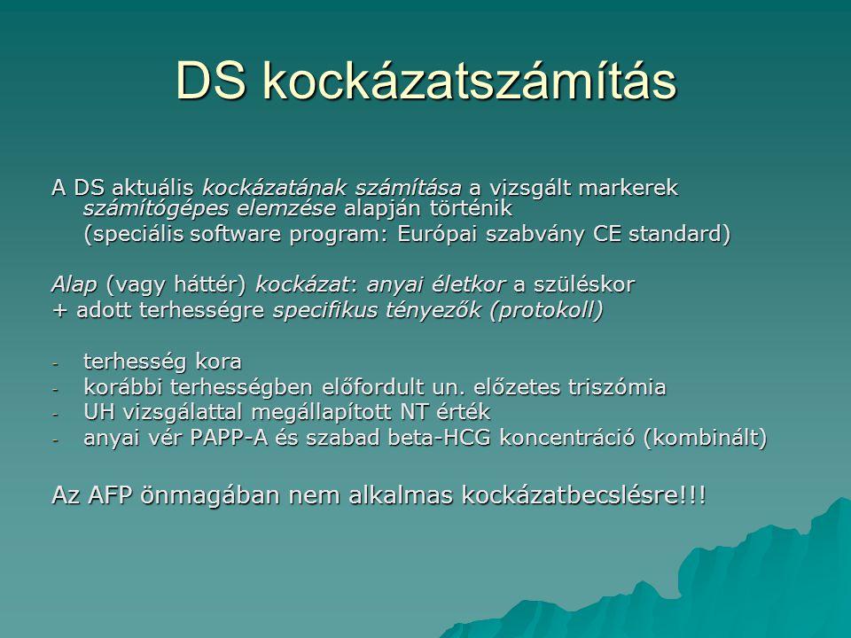DS kockázatszámítás A DS aktuális kockázatának számítása a vizsgált markerek számítógépes elemzése alapján történik (speciális software program: Európ