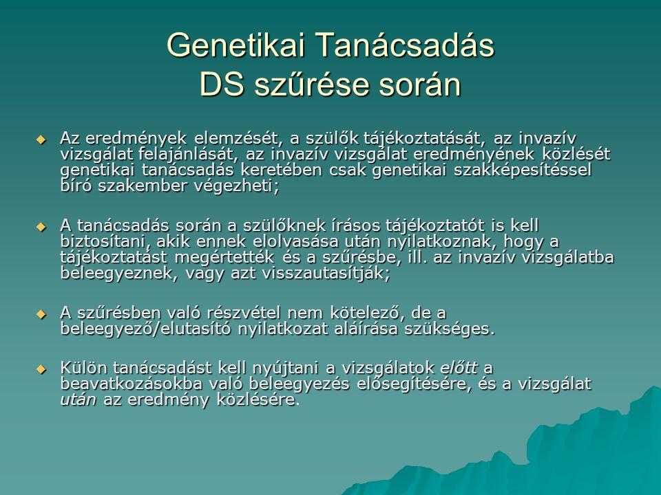 Genetikai Tanácsadás DS szűrése során  Az eredmények elemzését, a szülők tájékoztatását, az invazív vizsgálat felajánlását, az invazív vizsgálat ered