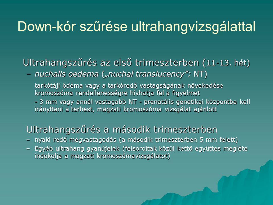 """Down-kór szűrése ultrahangvizsgálattal Ultrahangszűrés az első trimeszterben ( 11-13. hét) –nuchalis oedema (""""nuchal translucency"""": NT) tarkótáji ödém"""