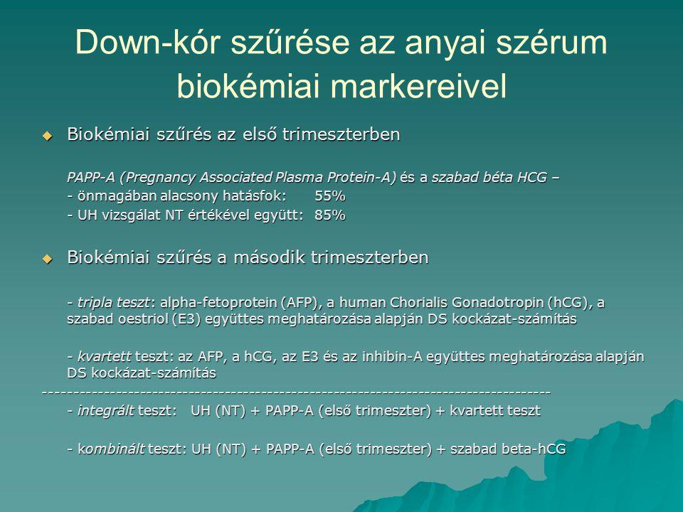 Down-kór szűrése az anyai szérum biokémiai markereivel  Biokémiai szűrés az első trimeszterben PAPP-A (Pregnancy Associated Plasma Protein-A) és a sz