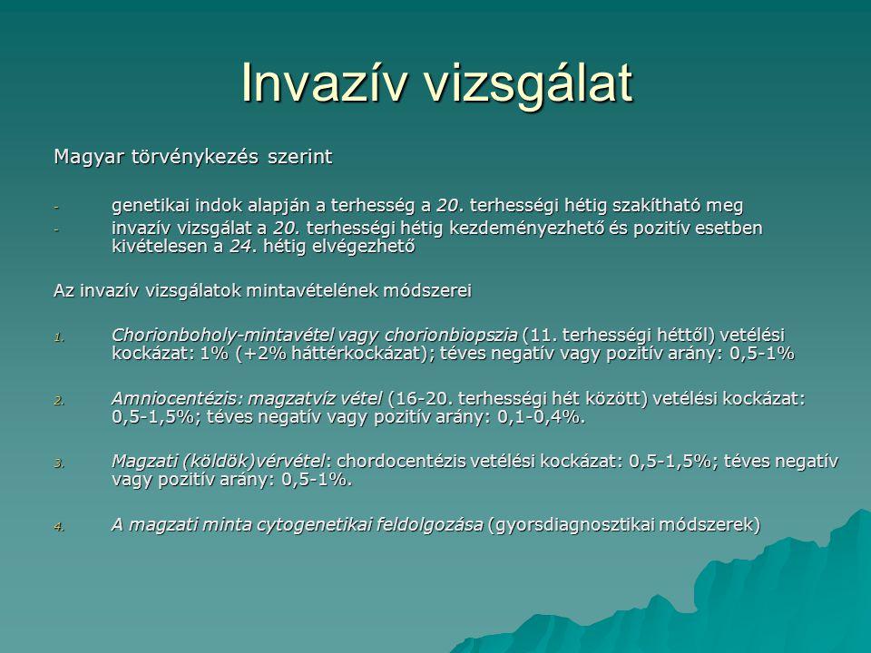 Invazív vizsgálat Magyar törvénykezés szerint - genetikai indok alapján a terhesség a 20. terhességi hétig szakítható meg - invazív vizsgálat a 20. te