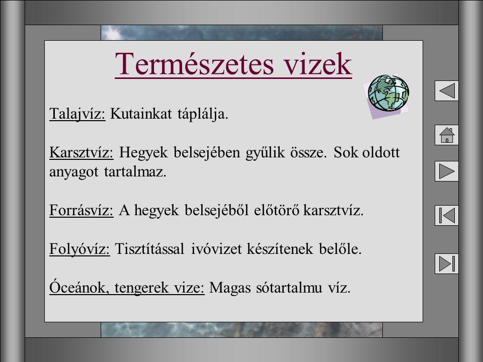 7 Talajvíz: Kutainkat táplálja. Karsztvíz: Hegyek belsejében gyűlik össze. Sok oldott anyagot tartalmaz. Forrásvíz: A hegyek belsejéből előtörő karszt