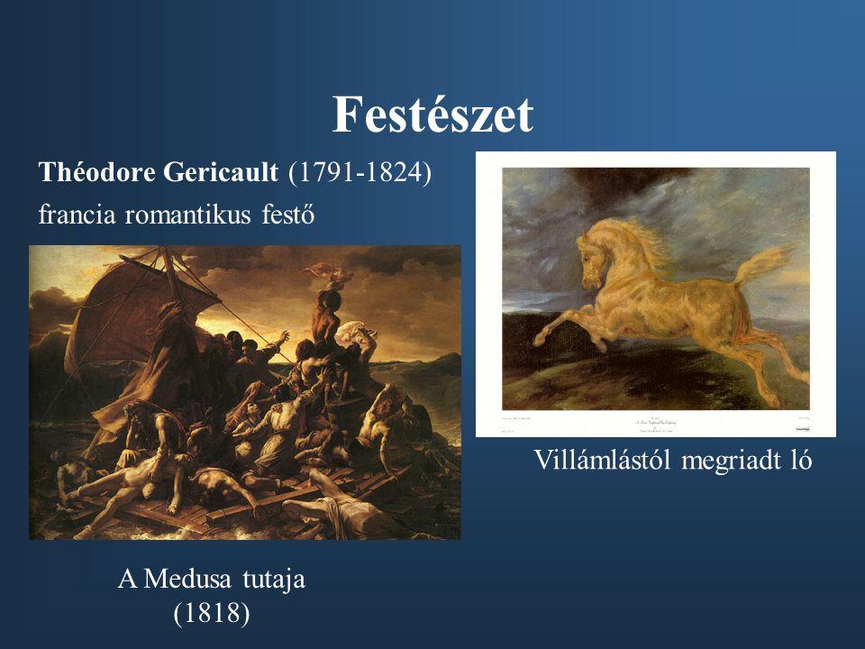 Festészet Théodore Gericault (1791-1824) francia romantikus festő A Medusa tutaja (1818) Villámlástól megriadt ló