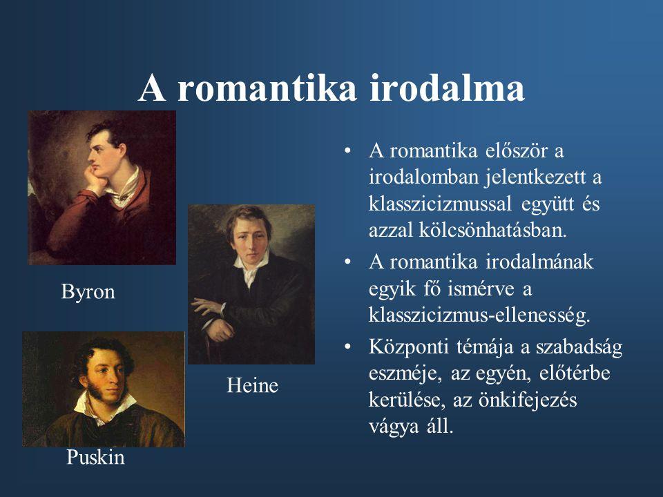 A romantika irodalma •A romantika először a irodalomban jelentkezett a klasszicizmussal együtt és azzal kölcsönhatásban. •A romantika irodalmának egyi