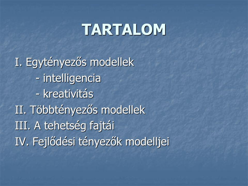 TARTALOM I.Egytényezős modellek - intelligencia - intelligencia - kreativitás - kreativitás II.