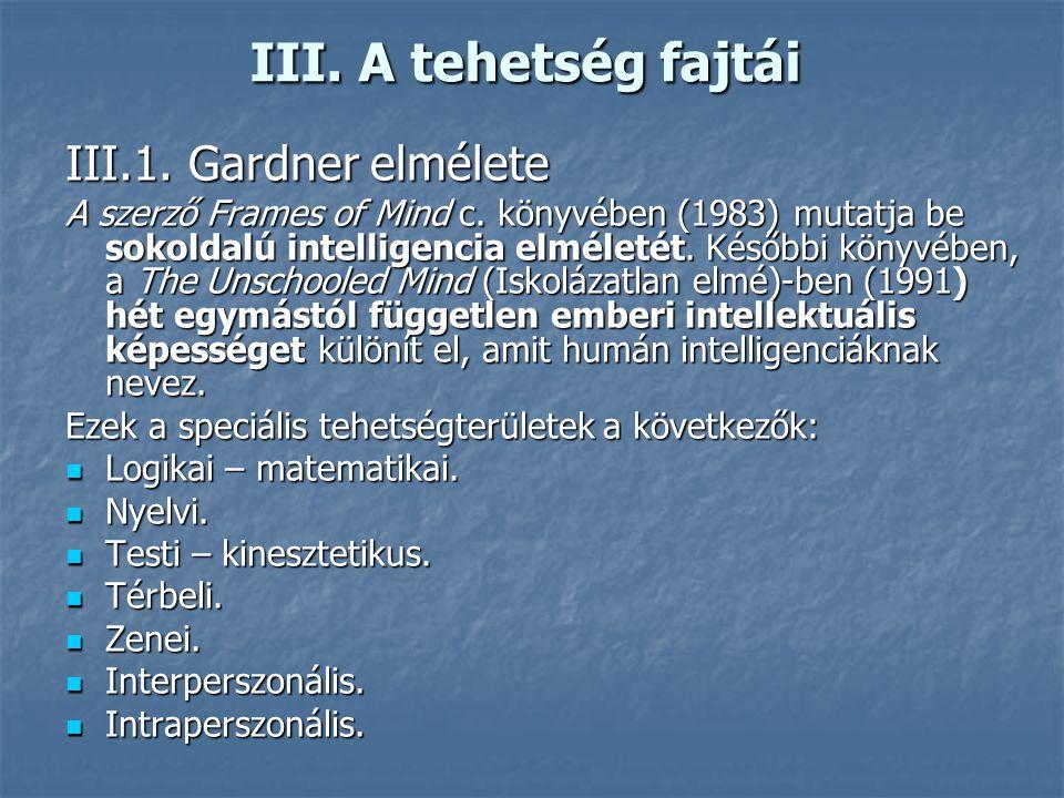 III.A tehetség fajtái III.1. Gardner elmélete A szerző Frames of Mind c.