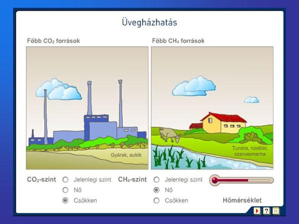 Levegőszennyező anyagok •Szén-dioxid •Ózon •Metán •Freonok •Nitrogén-oxidok