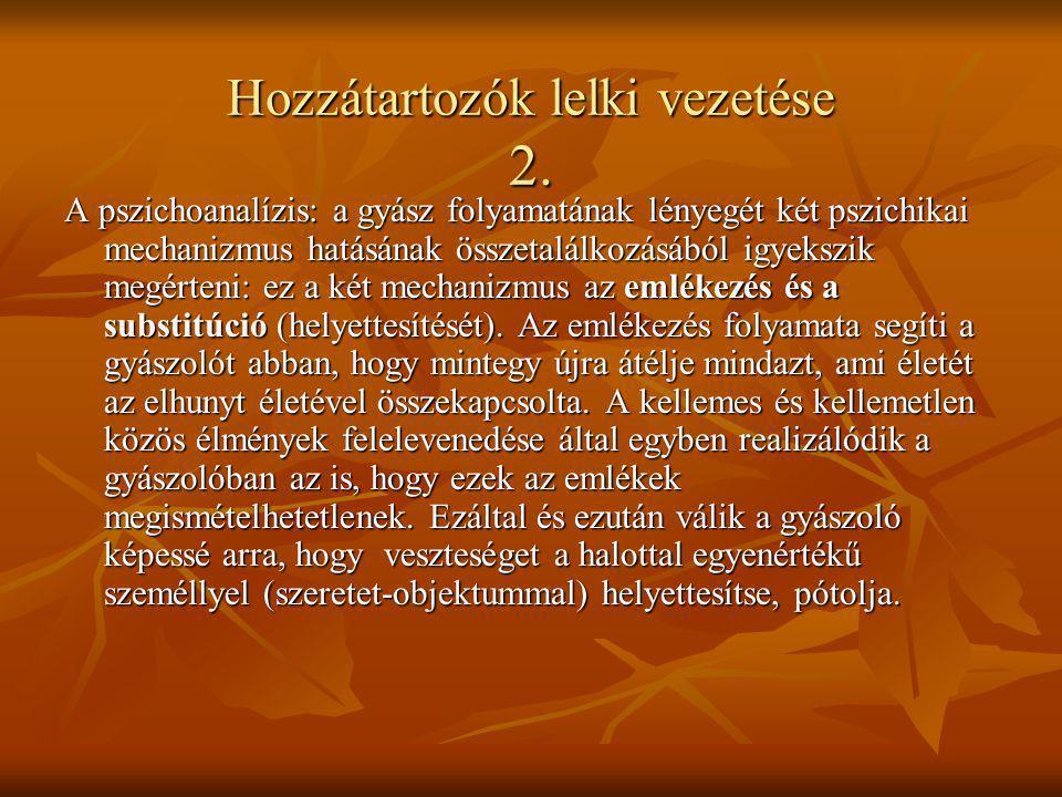 Hozzátartozók lelki vezetése 2. A pszichoanalízis: a gyász folyamatának lényegét két pszichikai mechanizmus hatásának összetalálkozásából igyekszik me