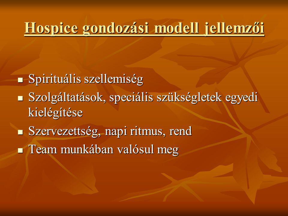 Hospice gondozási modell jellemzői  Spirituális szellemiség  Szolgáltatások, speciális szükségletek egyedi kielégítése  Szervezettség, napi ritmus,