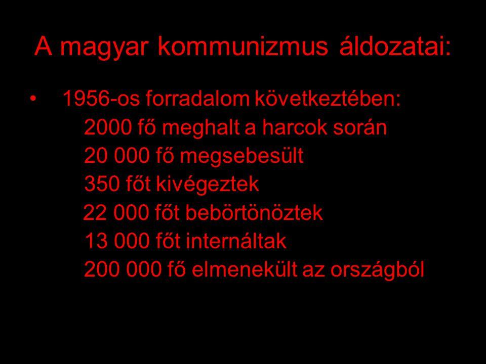 """A magyar kommunizmus áldozatai : •1945: szovjet fogságba került 189 608 fő •1946: szovjet munkaszolgálat, """"málenkij robot"""" 600 000-650 000 fő, ebből m"""