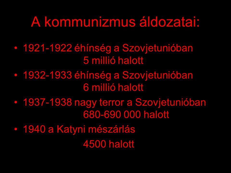 A magyar kommunizmus áldozatai: •1956-os forradalom következtében: 2000 fő meghalt a harcok során 20 000 fő megsebesült 350 főt kivégeztek 22 000 főt bebörtönöztek 13 000 főt internáltak 200 000 fő elmenekült az országból