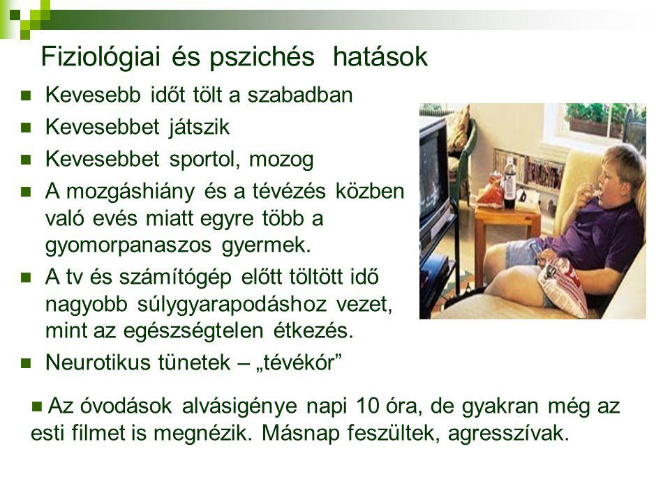Fiziológiai és pszichés hatások  Kevesebb időt tölt a szabadban  Kevesebbet játszik  Kevesebbet sportol, mozog  A mozgáshiány és a tévézés közben