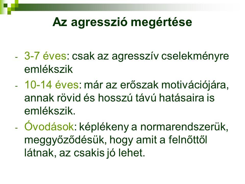 Az agresszió megértése - 3-7 éves: csak az agresszív cselekményre emlékszik - 10-14 éves: már az erőszak motivációjára, annak rövid és hosszú távú hat
