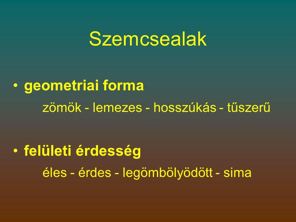 Szemcsealak •geometriai forma zömök - lemezes - hosszúkás - tűszerű •felületi érdesség éles - érdes - legömbölyödött - sima