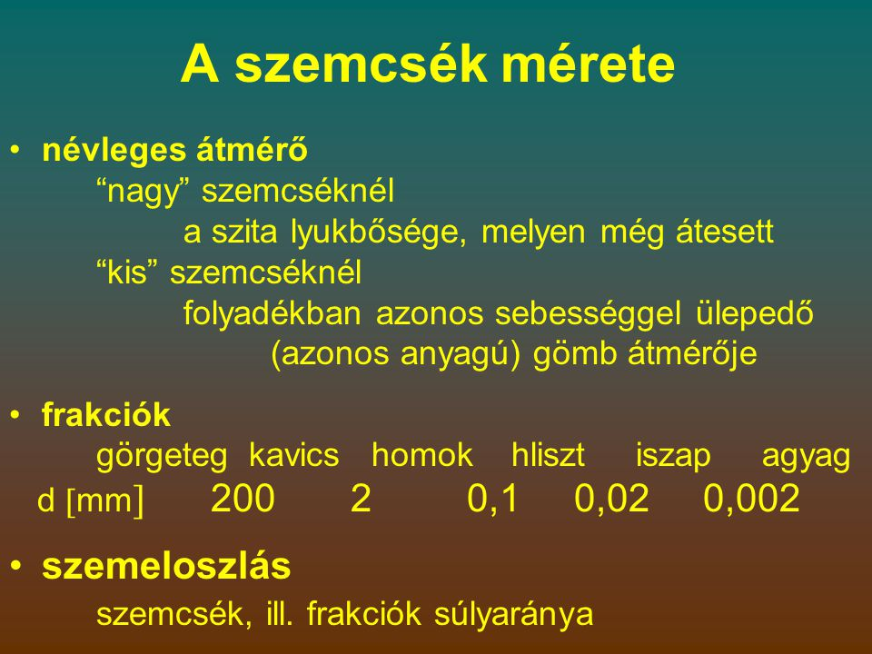 A szemcseméretek beosztása SzemcsecsoportSzemcsefrakcióJelölés Szemcseméret (mm) Nagyon durva KőtömbLBo> 630 GörgetegBo> 200–630 MacskakőCo> 63–200 Durva KavicsokGr> 2,0–63 Durva kavicsCGr> 20–63 Közepes kavicsMGr> 6,3–20 Apró kavicsFGr> 2,0–6,3 HomokokSa> 0,063–2,0 Durva homokCSa> 0,63–2,0 Közepes homokMSa> 0,2–0,63 Finom homokFSa> 0,063–0,2 Finom IszapokSi> 0,002–0,063 Durva iszapCSi> 0,02–0,063 Közepes iszapMSi> 0,0063–0,02 Finom iszapFSi> 0,002–0,0063 AgyagCI  0,002