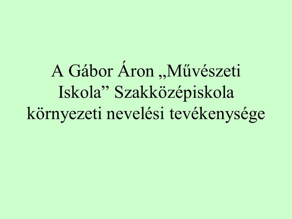 """A Gábor Áron """"Művészeti Iskola Szakközépiskola környezeti nevelési tevékenysége"""