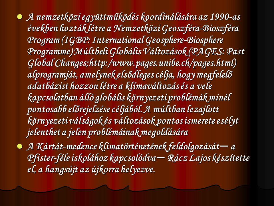  A nemzetközi együttműködés koordinálására az 1990-as években hozták létre a Nemzetközi Geoszféra-Bioszféra Program (IGBP: International Geosphere-Biosphere Programme) Múltbeli Globális Változások (PAGES: Past Global Changes;http:/www.pages.unibe.ch/pages.html) alprogramját, amelynek elsődleges célja, hogy megfelelő adatbázist hozzon létre a klímaváltozás és a vele kapcsolatban álló globális környezeti problémák minél pontosabb előrejelzése céljából.