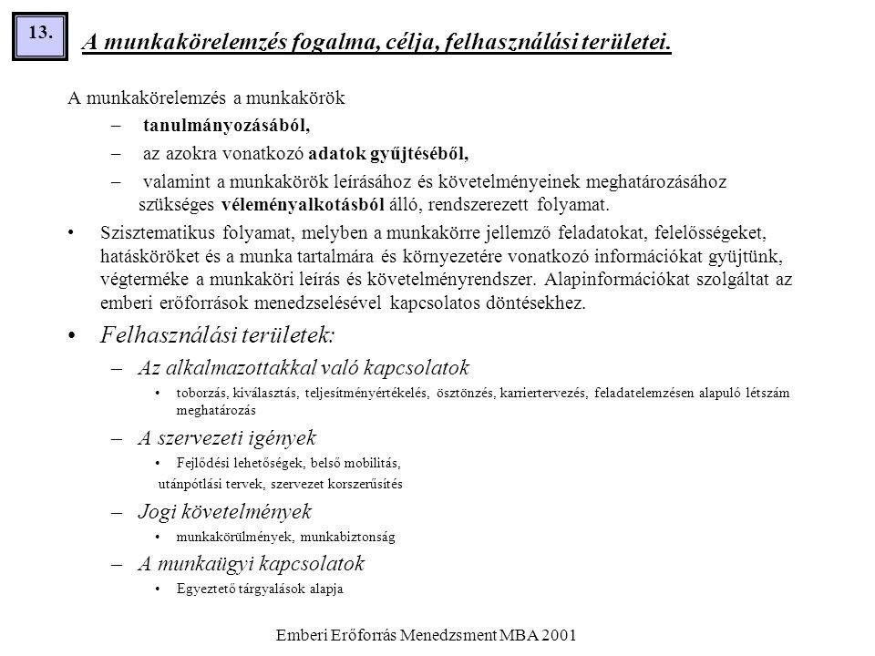 Emberi Erőforrás Menedzsment MBA 2001 13. A munkakörelemzés fogalma, célja, felhasználási területei. A munkakörelemzés a munkakörök – tanulmányozásábó