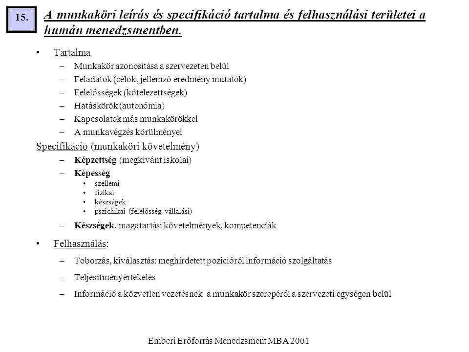 Emberi Erőforrás Menedzsment MBA 2001 15. A munkaköri leírás és specifikáció tartalma és felhasználási területei a humán menedzsmentben. •Tartalma –Mu