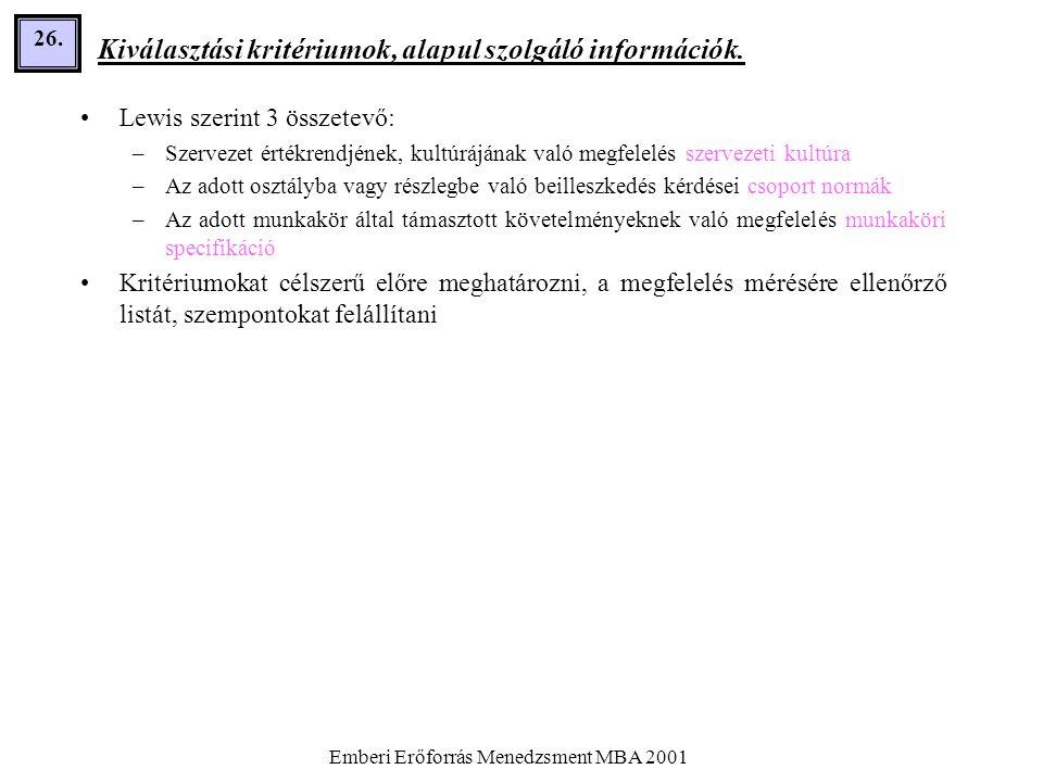Emberi Erőforrás Menedzsment MBA 2001 26. Kiválasztási kritériumok, alapul szolgáló információk. •Lewis szerint 3 összetevő: –Szervezet értékrendjének