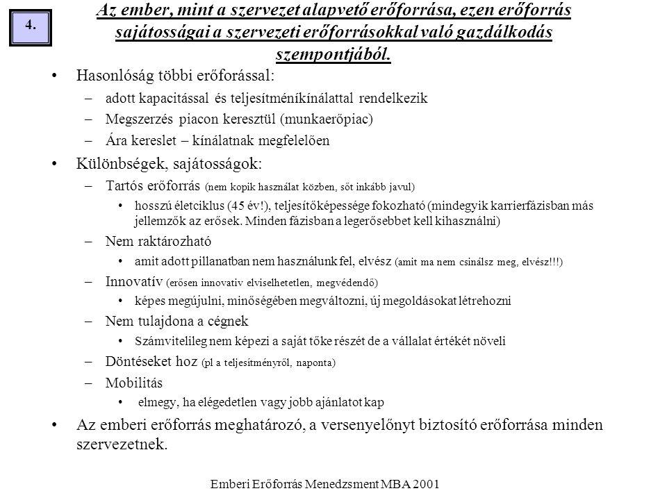 Emberi Erőforrás Menedzsment MBA 2001 45.A motiváció és a teljesítmény összefüggése.