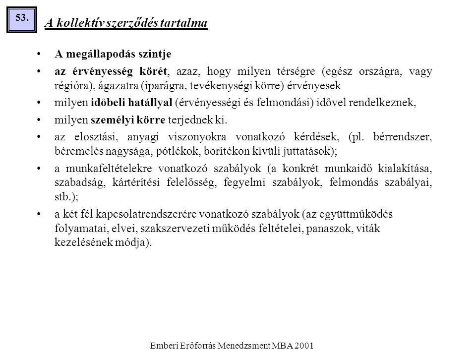 Emberi Erőforrás Menedzsment MBA 2001 53. A kollektív szerződés tartalma •A megállapodás szintje •az érvényesség körét, azaz, hogy milyen térségre (eg