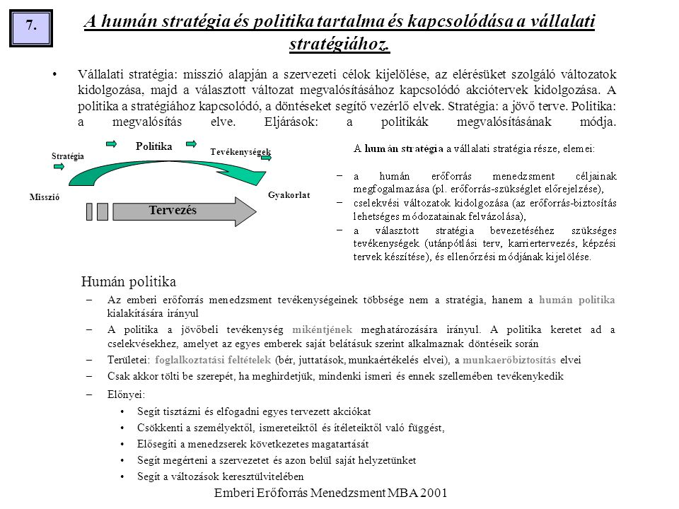 Emberi Erőforrás Menedzsment MBA 2001 7.7. A humán stratégia és politika tartalma és kapcsolódása a vállalati stratégiához. •Vállalati stratégia: miss