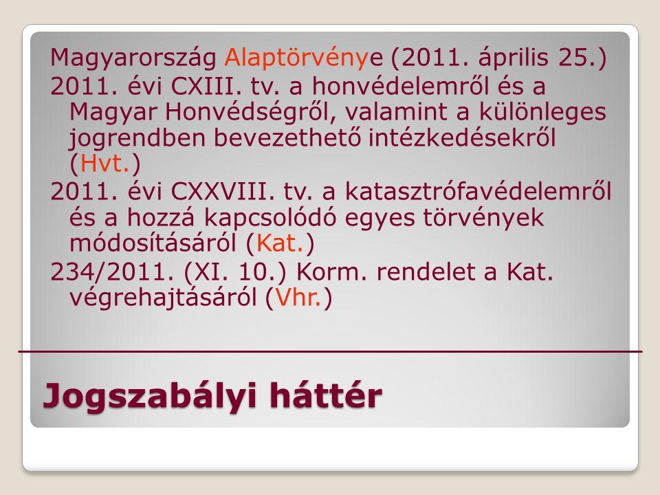 Jogszabályi háttér Magyarország Alaptörvénye (2011. április 25.) 2011. évi CXIII. tv. a honvédelemről és a Magyar Honvédségről, valamint a különleges