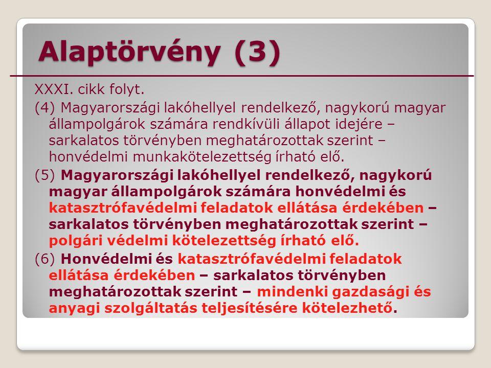 Alaptörvény (3) XXXI. cikk folyt. (4) Magyarországi lakóhellyel rendelkező, nagykorú magyar állampolgárok számára rendkívüli állapot idejére – sarkala