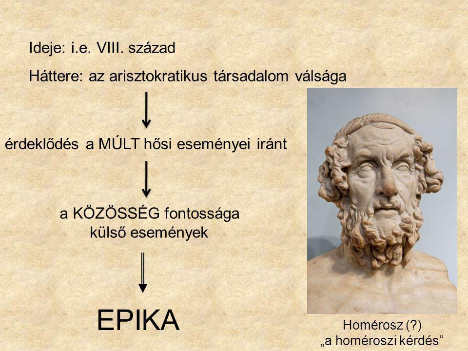 Az eposz Nagyepikai műfaj – hősköltemény eposzi téma eposzi hős Rendkívüli, az egész közösség sorsára kiható esemény Rendkívüli képességekkel felruházott, nagy formátumú hős