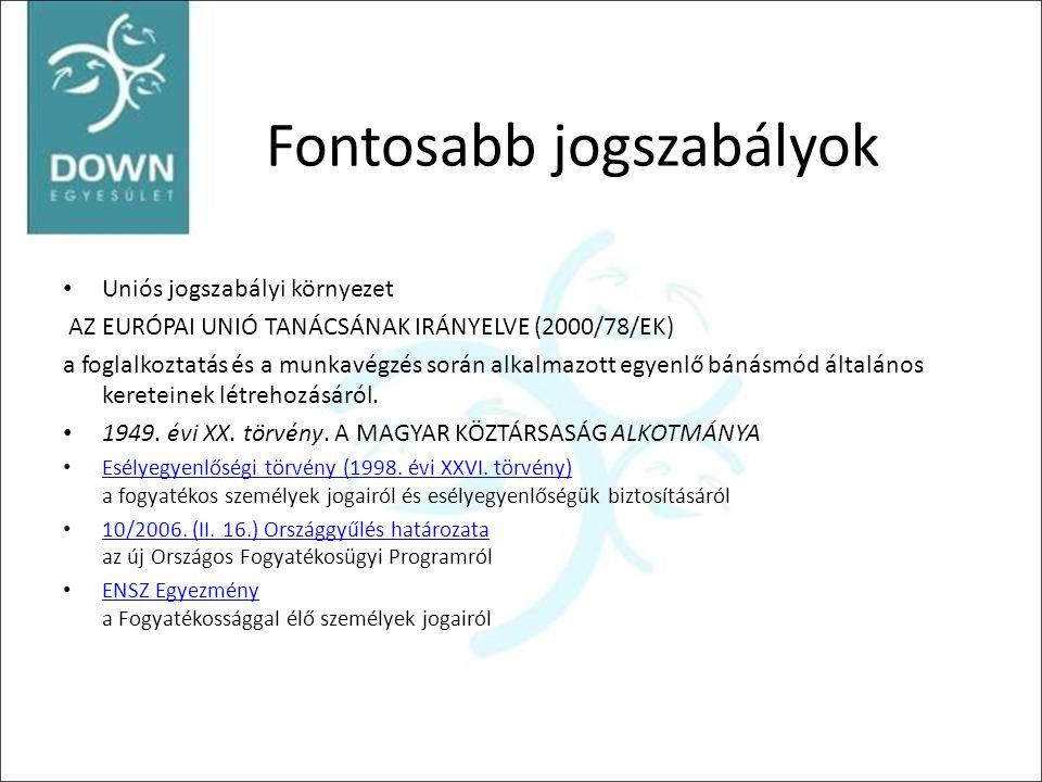 Fontosabb jogszabályok • Uniós jogszabályi környezet AZ EURÓPAI UNIÓ TANÁCSÁNAK IRÁNYELVE (2000/78/EK) a foglalkoztatás és a munkavégzés során alkalma