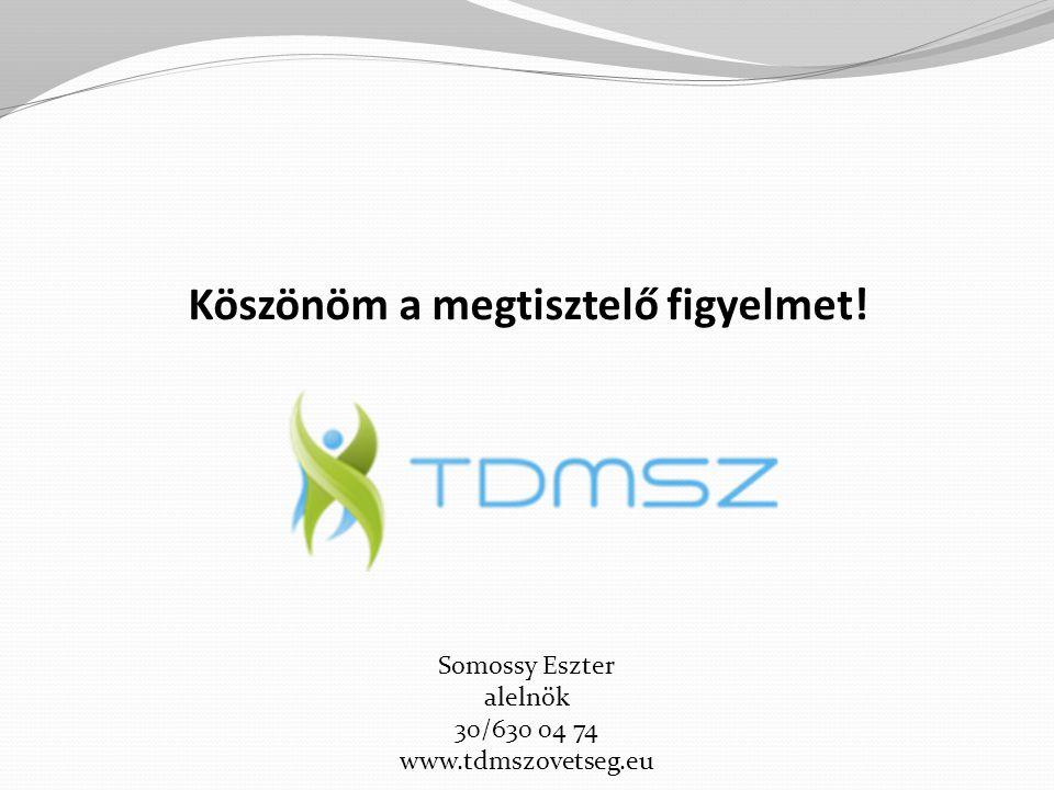 Köszönöm a megtisztelő figyelmet! Somossy Eszter alelnök 30/630 04 74 www.tdmszovetseg.eu
