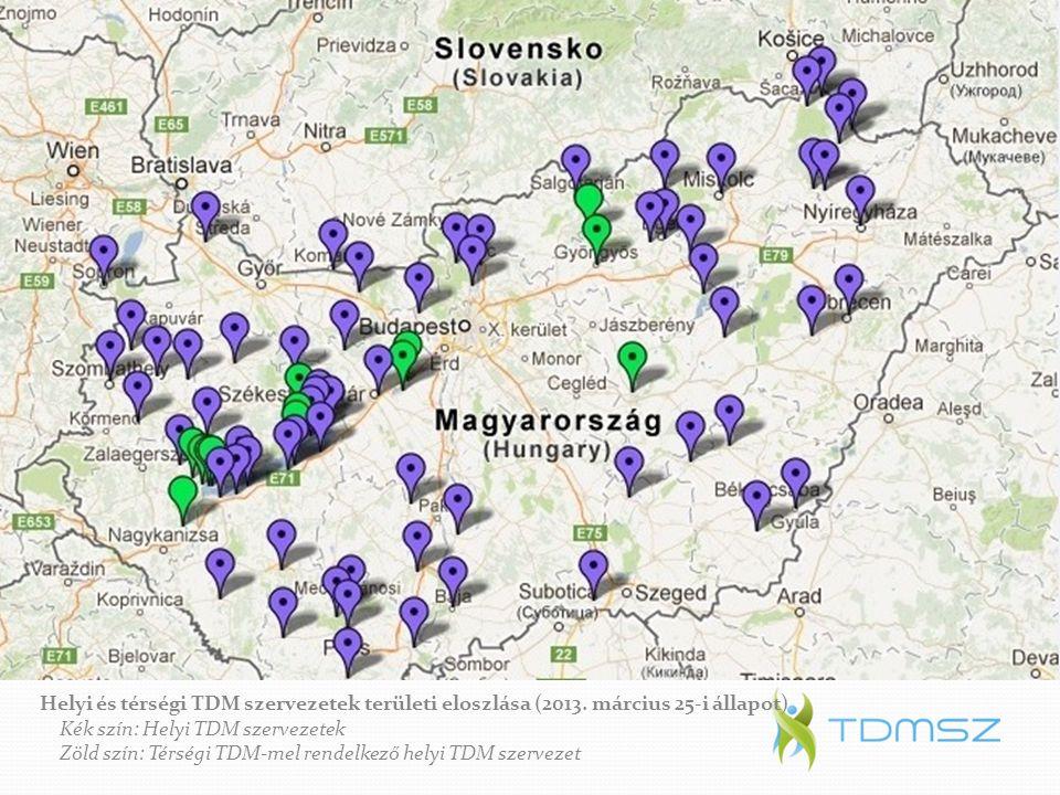 TDM helyzetkép 2013. március Helyi és térségi TDM szervezetek területi eloszlása (2013. március 25-i állapot) Kék szín: Helyi TDM szervezetek Zöld szí