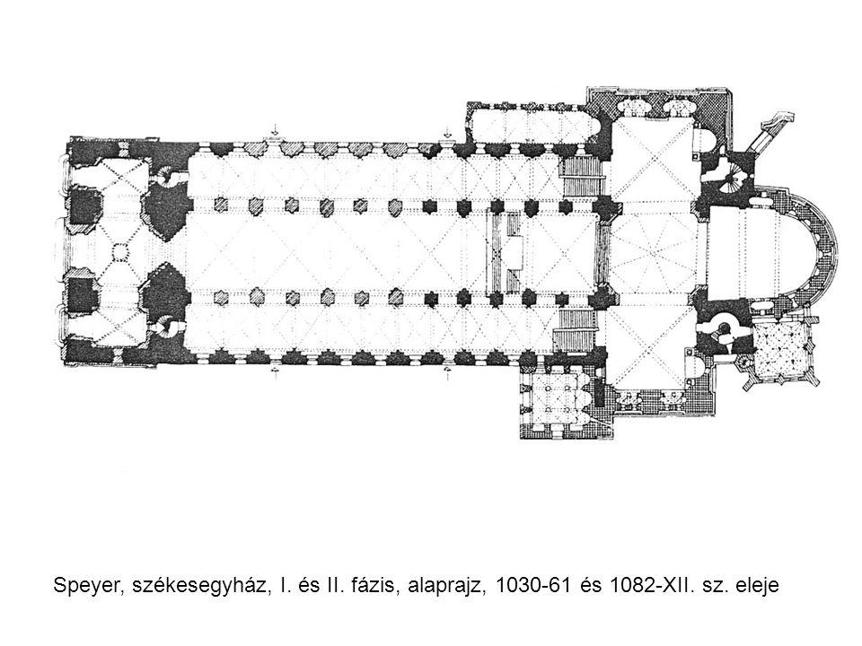 Speyer, székesegyház, I. és II. fázis, alaprajz, 1030-61 és 1082-XII. sz. eleje