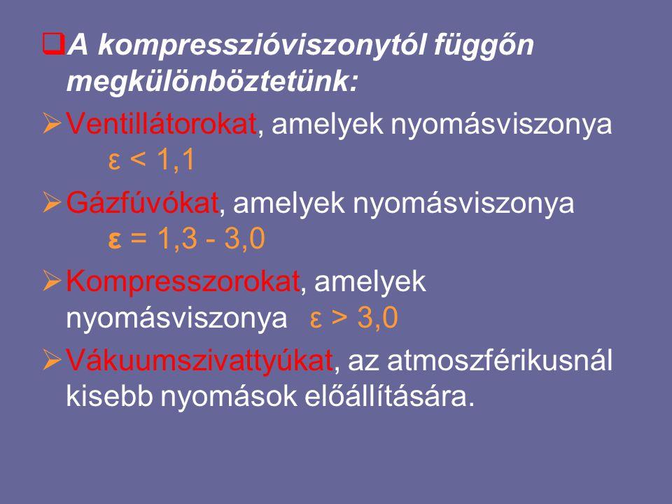  A kompresszióviszonytól függőn megkülönböztetünk:  Ventillátorokat, amelyek nyomásviszonya ε < 1,1  Gázfúvókat, amelyek nyomásviszonya ε = 1,3 - 3