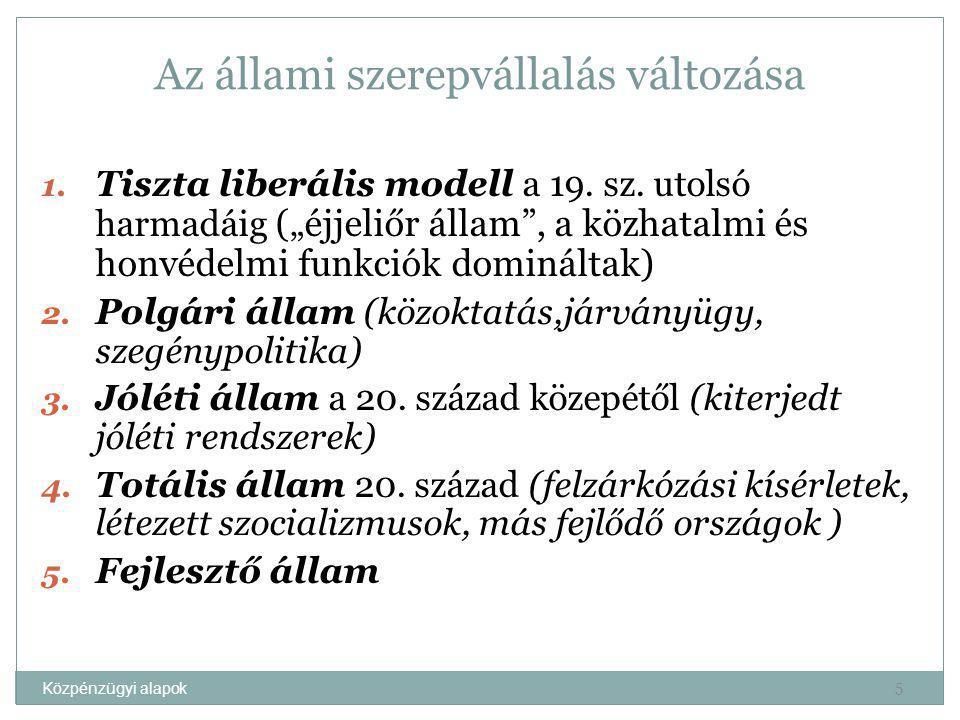 Közpénzügyi alapok Az állami funkciók csoportosítása Állami funkciók Funkci -onális Köz- hatalm i Szociá- lis Gazda- sági Jelleg Szabá- lyozó Finan- szírozási Közgaz -dasági Alloká- ciós Rediszt - ribúció s Stabili- zációs