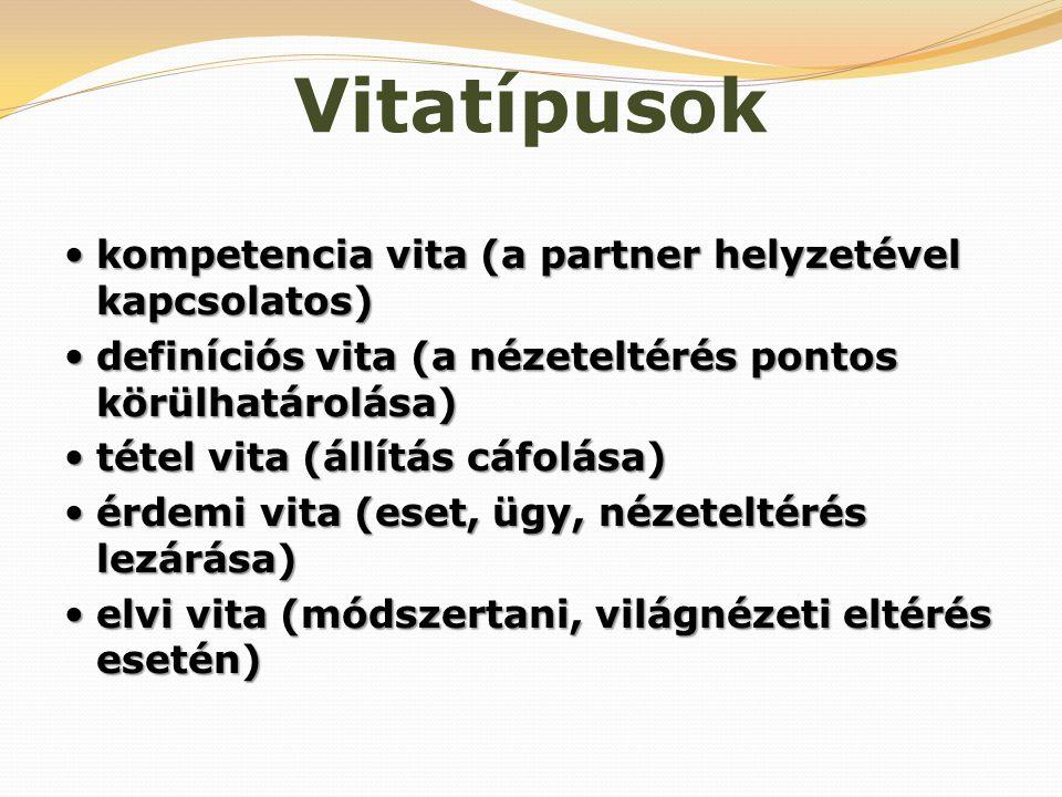 Vitatípusok  kompetencia vita (a partner helyzetével kapcsolatos)  definíciós vita (a nézeteltérés pontos körülhatárolása)  tétel vita (állítás cáf