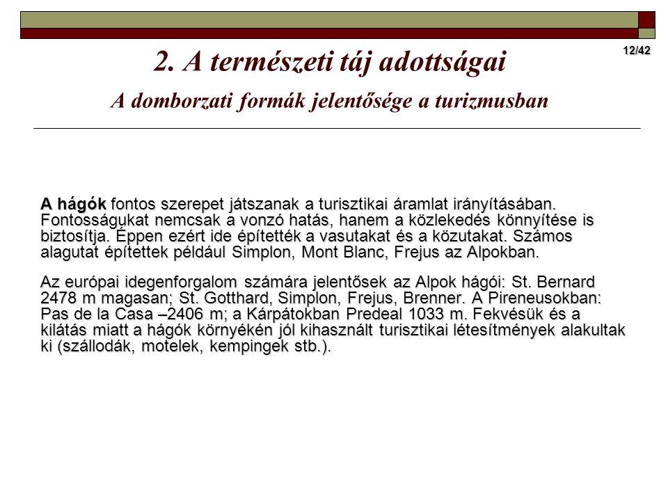 12/42 2. A természeti táj adottságai A domborzati formák jelentősége a turizmusban A hágók fontos szerepet játszanak a turisztikai áramlat irányításáb