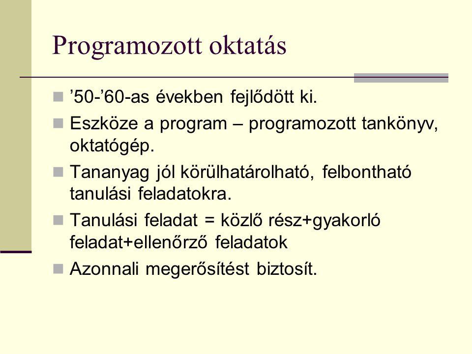 Programozott oktatás  '50-'60-as években fejlődött ki.  Eszköze a program – programozott tankönyv, oktatógép.  Tananyag jól körülhatárolható, felbo