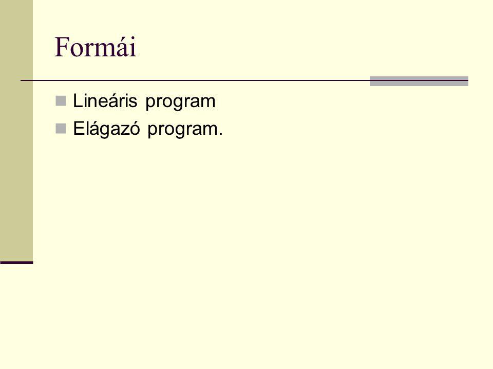 Formái  Lineáris program  Elágazó program.
