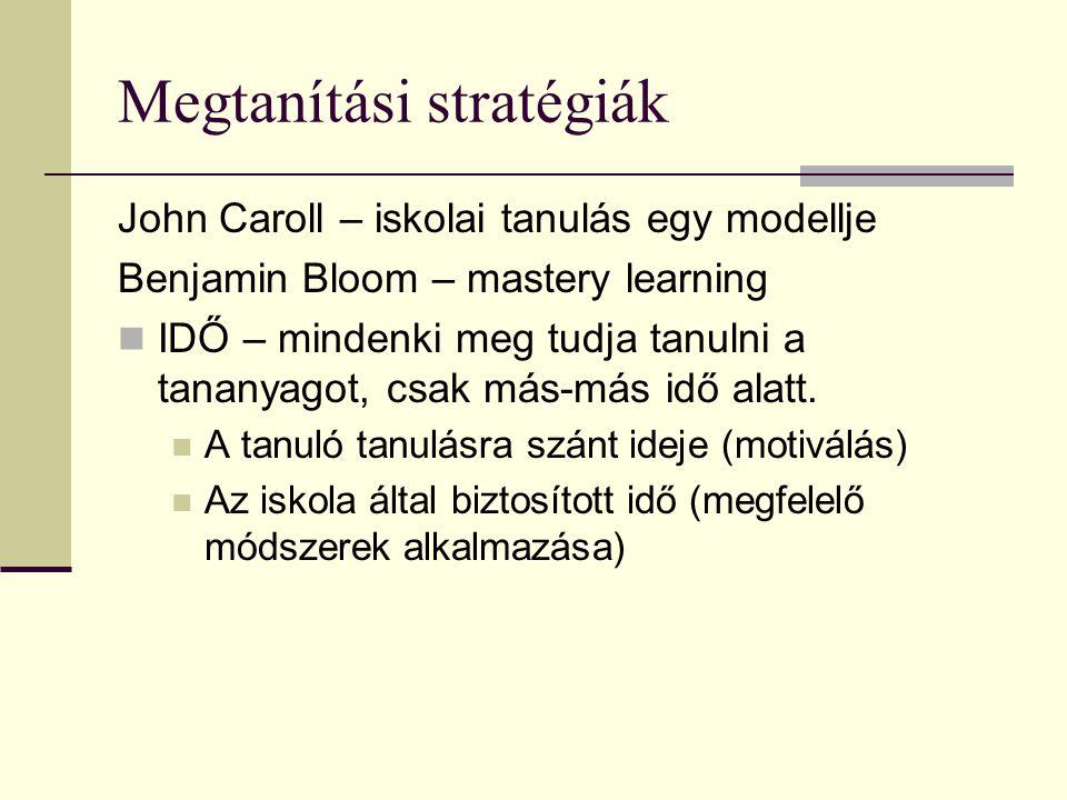 Megtanítási stratégiák John Caroll – iskolai tanulás egy modellje Benjamin Bloom – mastery learning  IDŐ – mindenki meg tudja tanulni a tananyagot, c