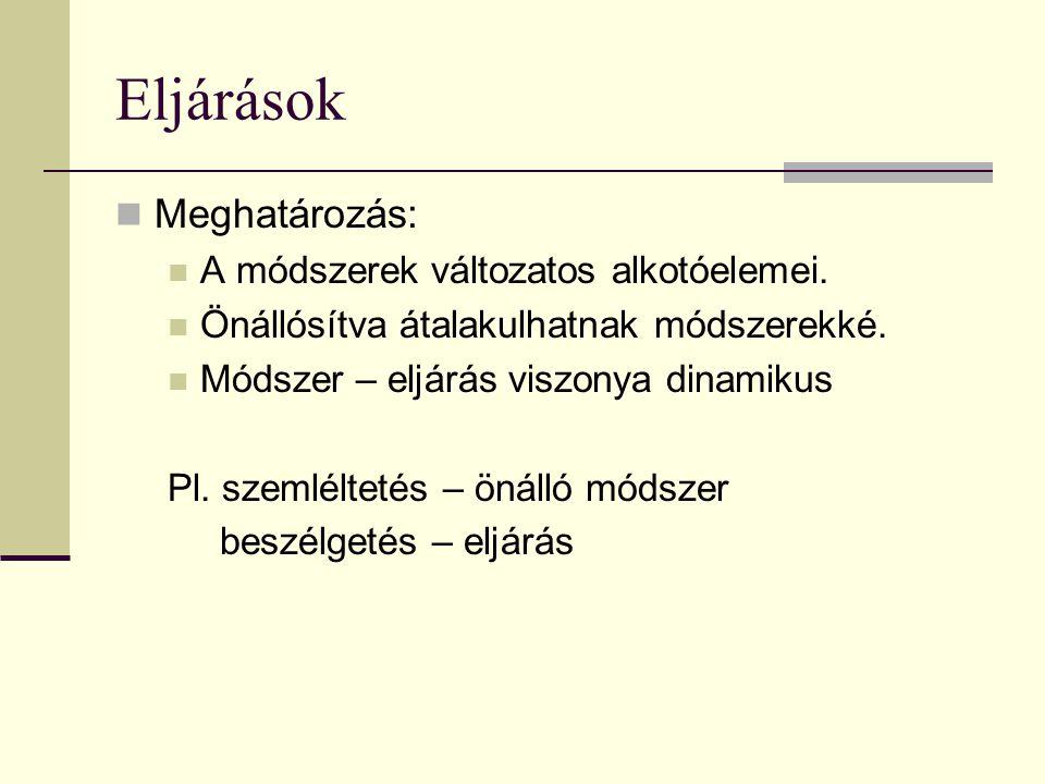 Eljárások  Meghatározás:  A módszerek változatos alkotóelemei.  Önállósítva átalakulhatnak módszerekké.  Módszer – eljárás viszonya dinamikus Pl.