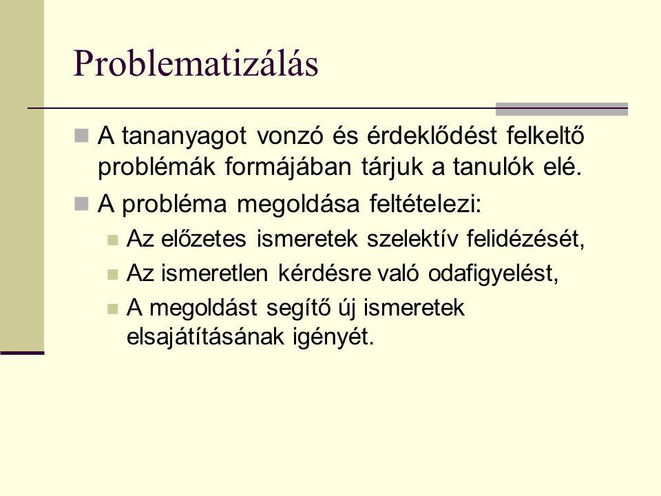 Problematizálás  A tananyagot vonzó és érdeklődést felkeltő problémák formájában tárjuk a tanulók elé.  A probléma megoldása feltételezi:  Az előze