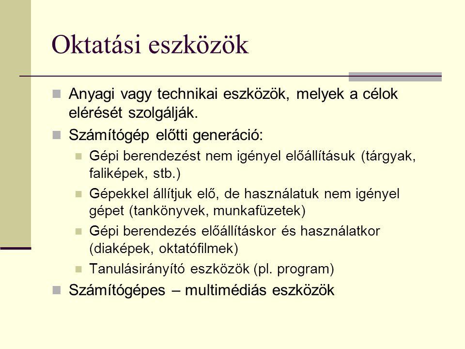 Oktatási eszközök  Anyagi vagy technikai eszközök, melyek a célok elérését szolgálják.  Számítógép előtti generáció:  Gépi berendezést nem igényel