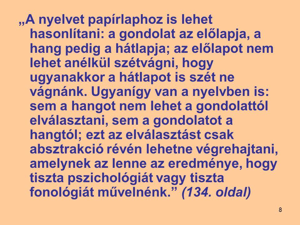 """8 """"A nyelvet papírlaphoz is lehet hasonlítani: a gondolat az előlapja, a hang pedig a hátlapja; az előlapot nem lehet anélkül szétvágni, hogy ugyanakk"""