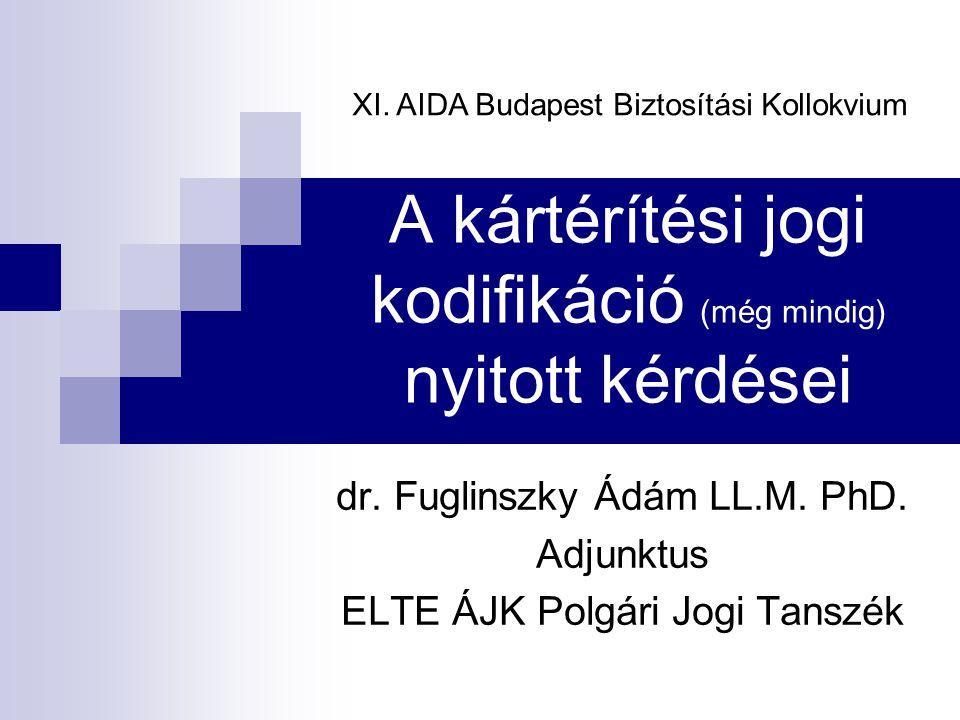A kártérítési jogi kodifikáció (még mindig) nyitott kérdései dr. Fuglinszky Ádám LL.M. PhD. Adjunktus ELTE ÁJK Polgári Jogi Tanszék XI. AIDA Budapest