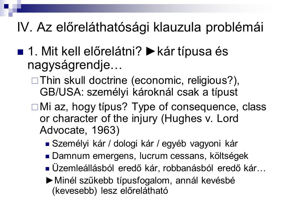 IV. Az előreláthatósági klauzula problémái  1. Mit kell előrelátni? ►kár típusa és nagyságrendje…  Thin skull doctrine (economic, religious?), GB/US