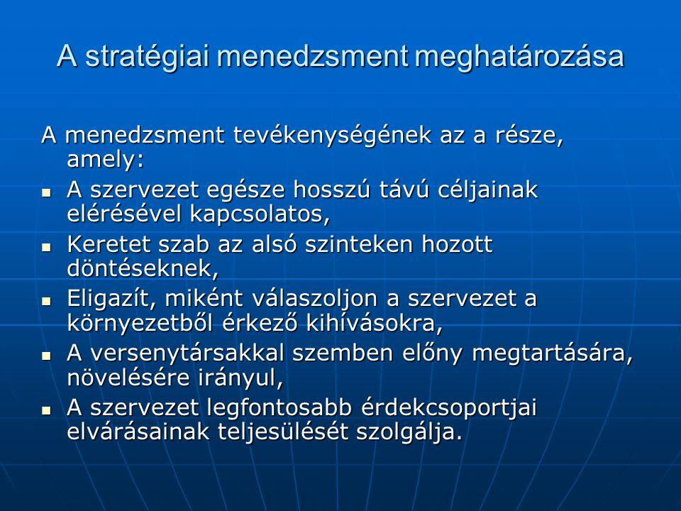 A stratégiai menedzsment meghatározása A menedzsment tevékenységének az a része, amely:  A szervezet egésze hosszú távú céljainak elérésével kapcsola