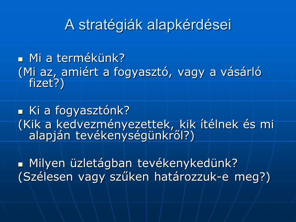 A stratégiák alapkérdései  Mi a termékünk.