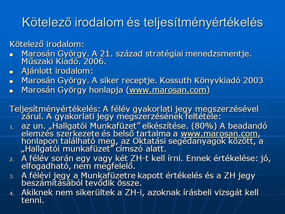 Kötelező irodalom és teljesítményértékelés Kötelező irodalom:  Marosán György. A 21. század stratégiai menedzsmentje. Műszaki Kiadó. 2006.  Ajánlott